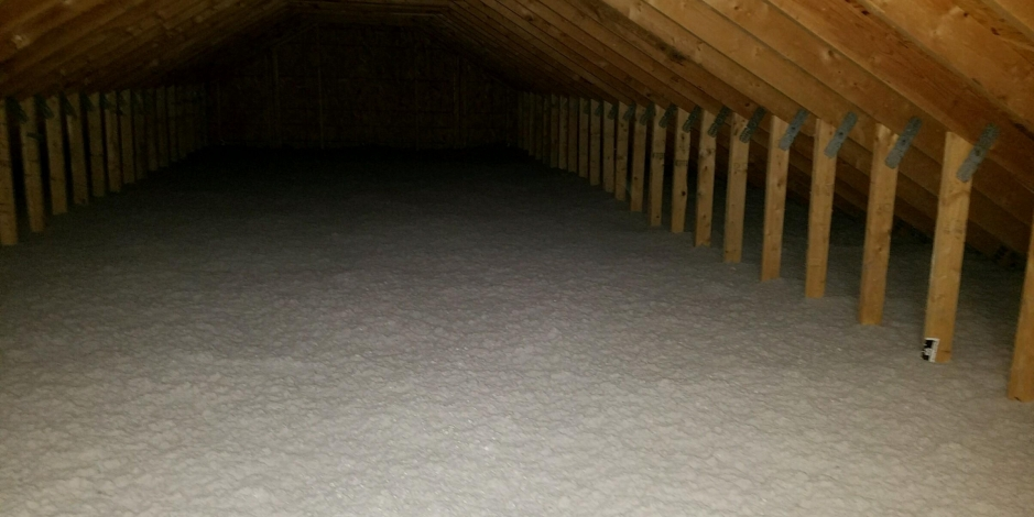 Image of completed attic insulation job by Total Home Performance in a Maryland home.